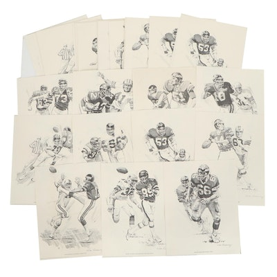New York Giants and Jets Shell Oil Promotional Prints after Nick Galloway, 1981