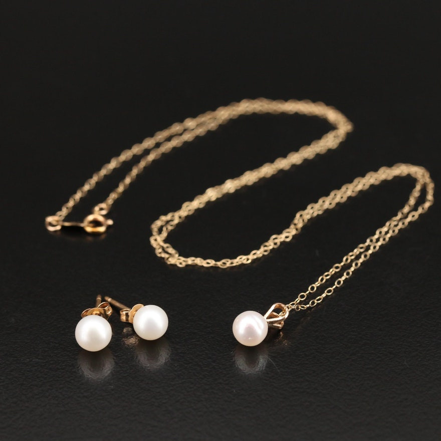 10K Pearl Pendant Necklace and Stud Earrings