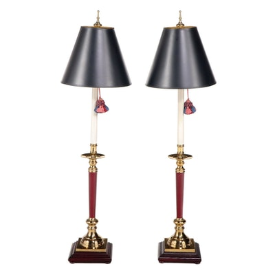 Pair of Ethan Allen Brass, Metal, and Hardwood Candlestick-Form Table Lamps