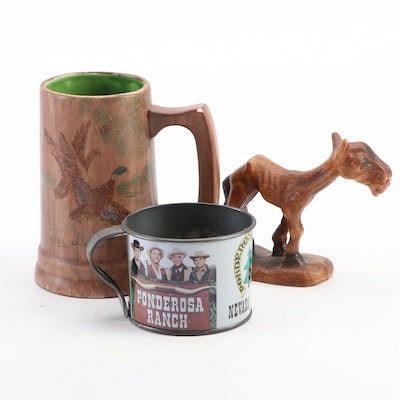 Muliproducts Syroco Homely Horse with Ponderosa Ranch and Betty Kraft Mugs