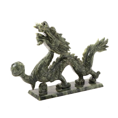 Chinese Carved Serpentine Dragon with Pearl