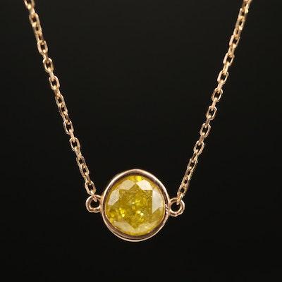 18K 1.01 CT Yellow Diamond Necklace