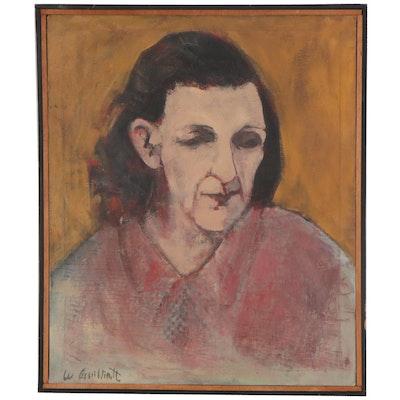 """Lee Guilliatt Oil Painting """"Midwestern Woman,"""" 1962"""