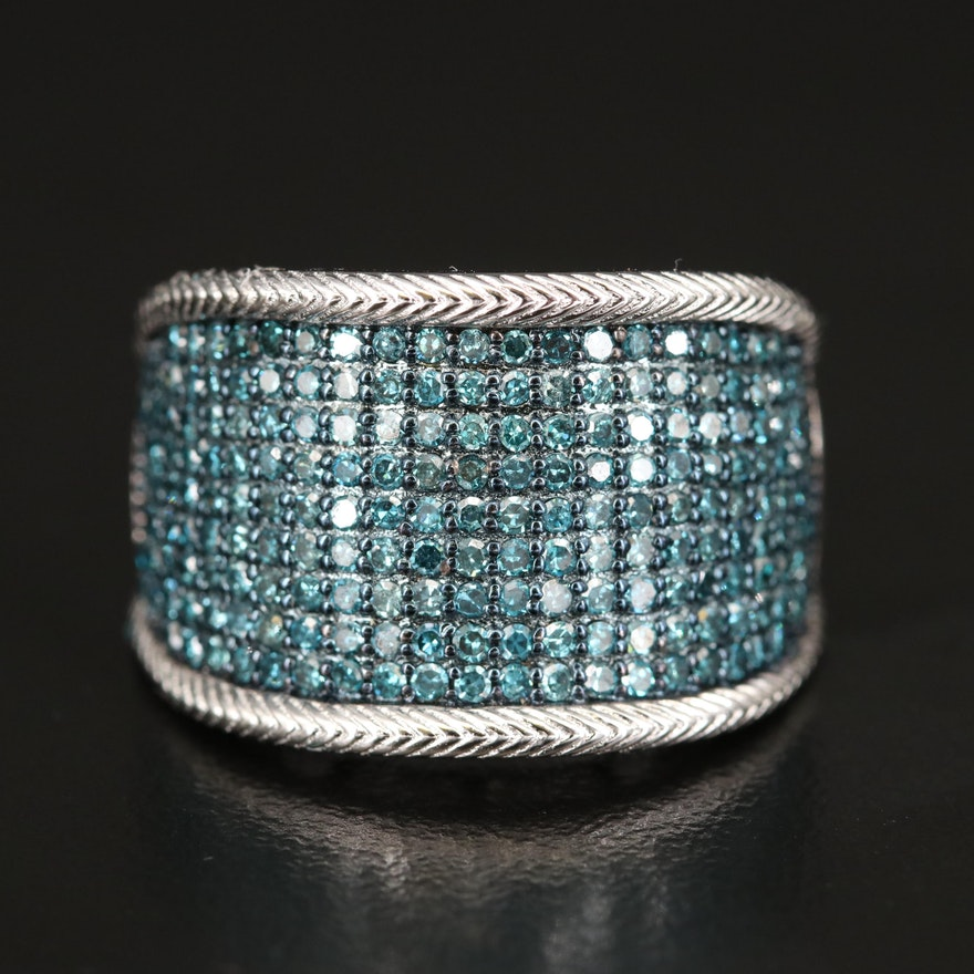 Sterling Silver 1.00 CTW Diamond Multi-Row Ring