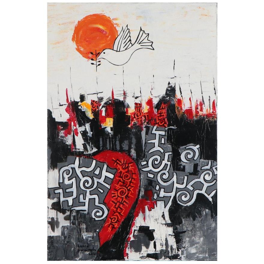 "Lanre Buraimoh Acrylic Painting ""Peaceful City"""