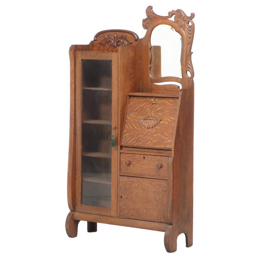 Late Victorian Carved and Quartersawn Oak Side-by-Side Secretary Bookcase
