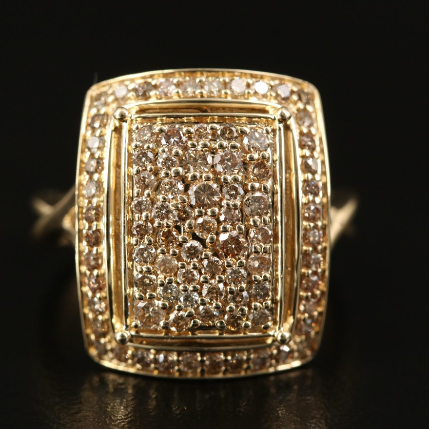 14K 1.00 CTW Pavé Diamond Ring with Twist Shoulders