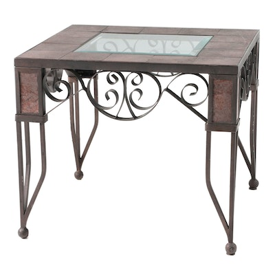 Patinated Metal, Ceramic Tile, and Glass Top Patio Side Table