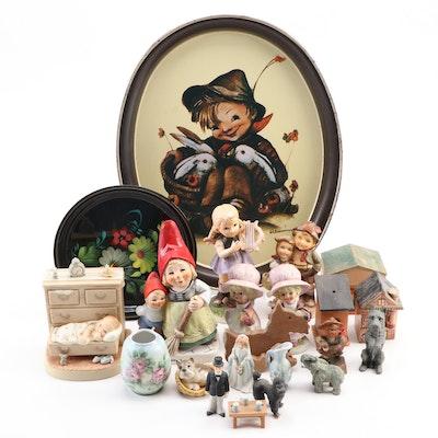 "Goebel ""Greta"" Hummel and Other Figurines, with Metal Trays and Wood Houses"