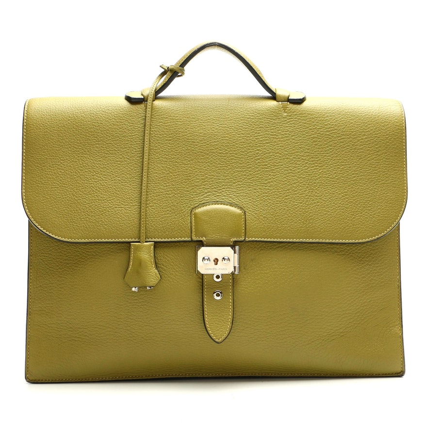 Hermès Sac à Dépêches Briefcase in Green Fjord Leather