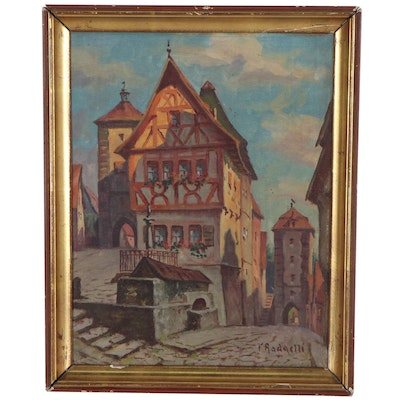 German Cityscape Oil Painting, Mid-20th Century