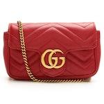 Gucci GG Super Mini Crossbody in Red Matelassé Leather