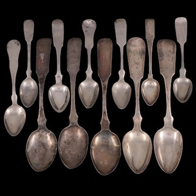 James Watson, and Other Coin Silver and Sterling Fiddle Handled Spoons