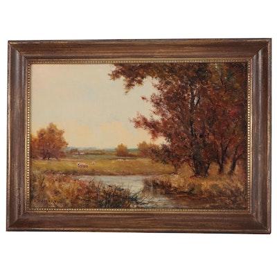 William D. Martin Pastoral Landscape Oil Painting, Circa 1900
