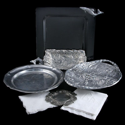 Arthur Court Acrylic and Aluminum Fish and Frog Trays and More