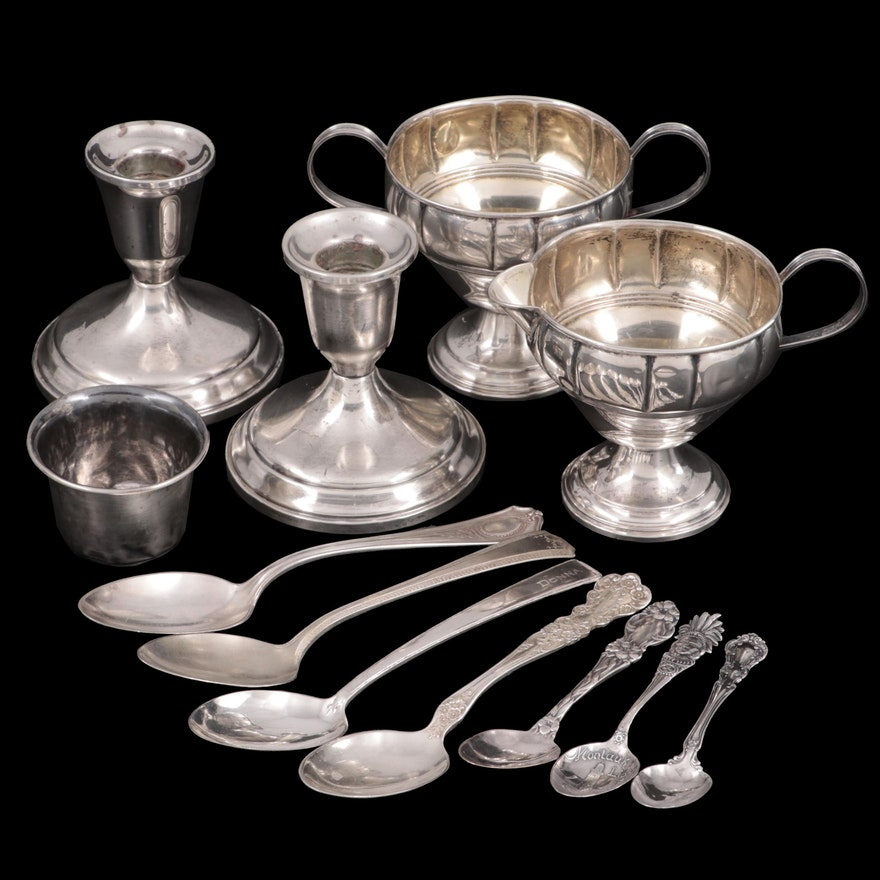 Towle Sterling Silver Candle Holders with Other Silver Table Accessories