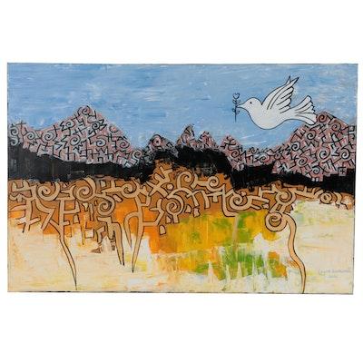 "Lanre Buraimoh Acrylic Painting ""Peaceful Land"""