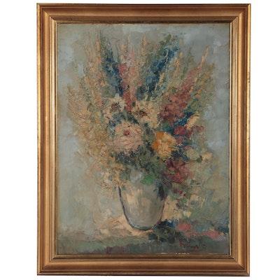 Jan Bévort Floral Still Life Oil Painting, Mid-20th Century