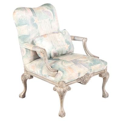 Drexel Heritage George III Style Silver-Gilt Gainsborough Armchair