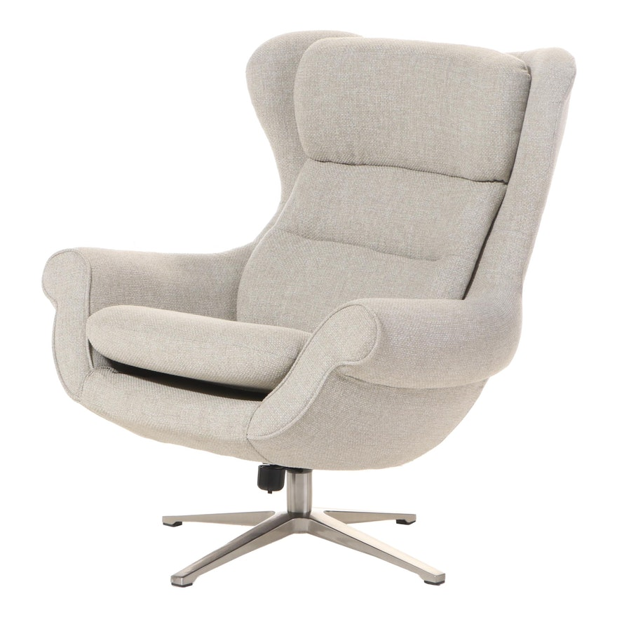 Modernist Style Upholstered Swivel-Tilt Lounge Chair