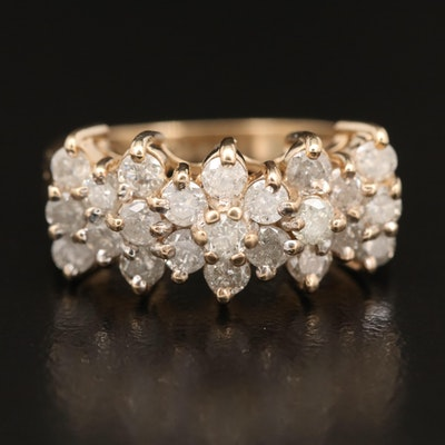 10K 1.43 CTW Diamond Stepped Ring