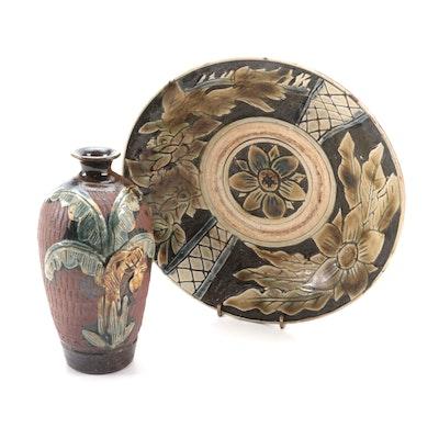Majolica Glazed Stoneware Bud Vase and Bowl