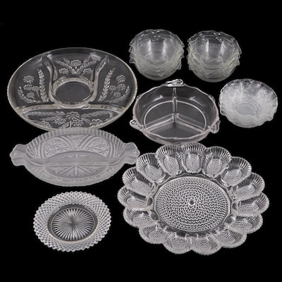 EAPG Indiana Glass Hobnail Egg Platter with Other Glass Bowls and Serving Plates