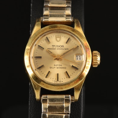 1972 Tudor Princess Oysterdate Gold Plate and Stainless Steel Wristwatch