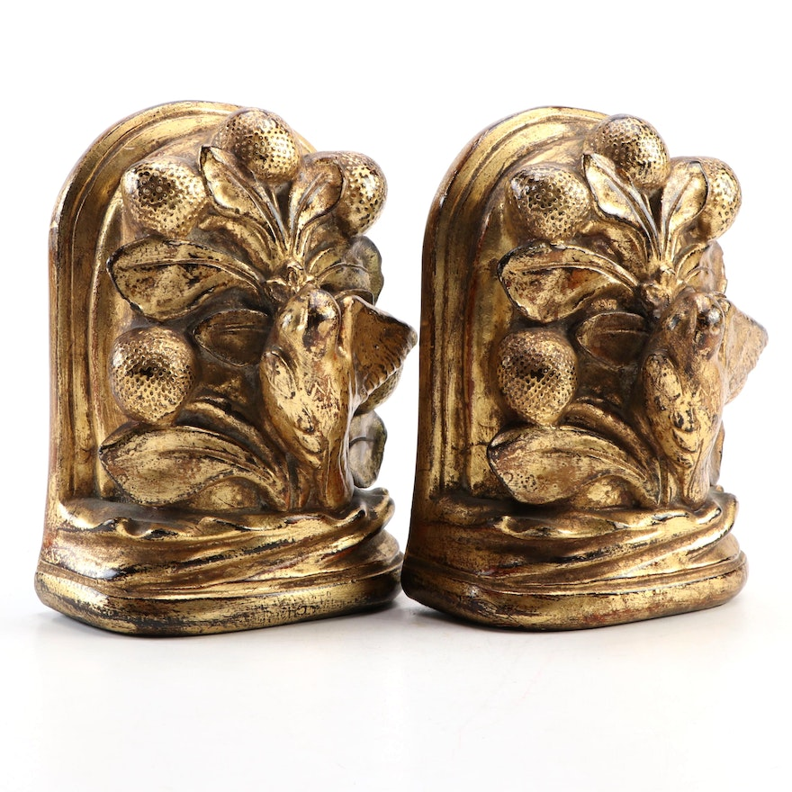 Borghese Gilt Composite Bookends, Mid to Late 20th Century