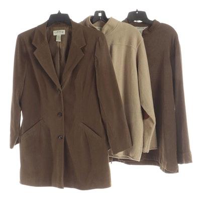 Orvis Cardigan and Shirt with Mandarin Collars and Long Blazer