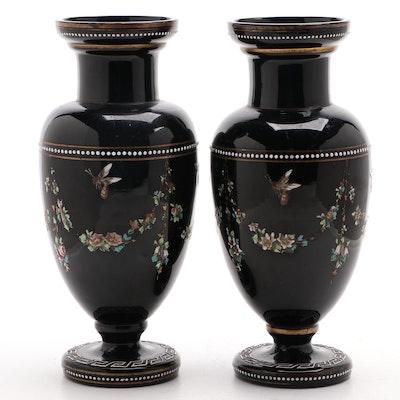 Victorian Black Amethyst Bristol Glass Hand-Painted Enameled Vases, Antique