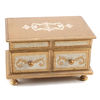 Florentine Style Paint-Decorated Wooden Music Jewelry Box, Mid to Late 20th C.