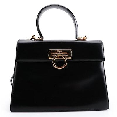 Salvatore Ferragamo Gancini Black Glazed Leather Two-Way Top Handle Bag