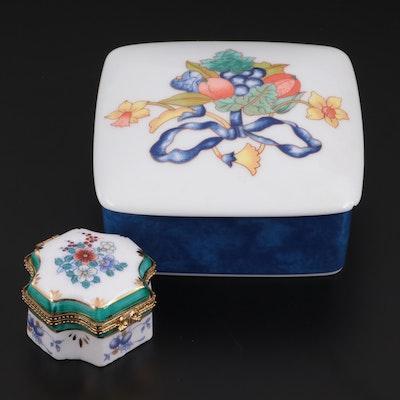 "Bernardaud Limoges ""Borghése"" Lidded Box and Other Porcelain Box"