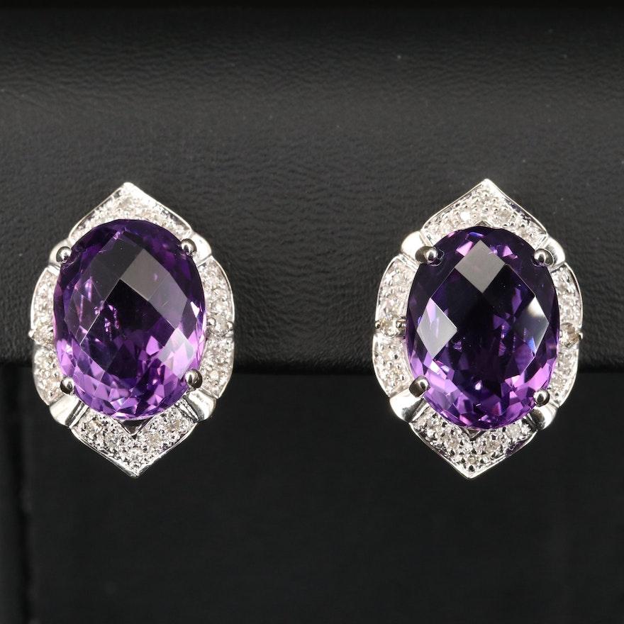 14K Amethyst and Diamond Arabesque Earrings