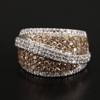 Sterling 1.25 CTW Diamond and Cubic Zirconia Dome Ring