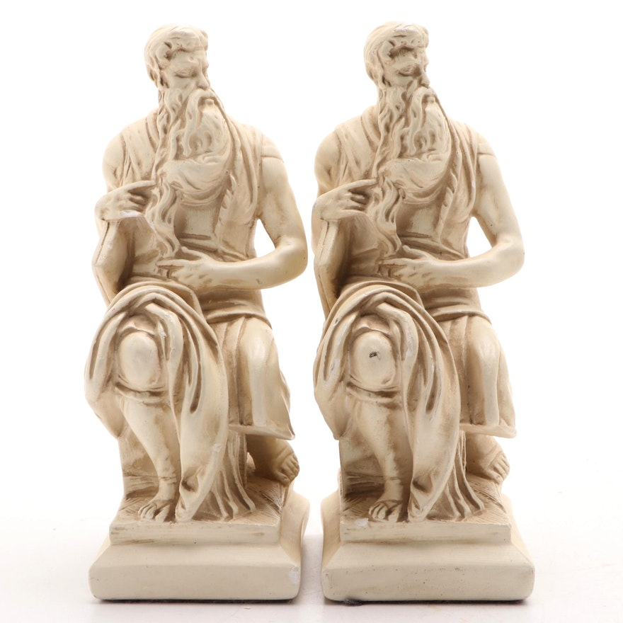 """Plaster Figurines after Michelangelo's """"Moses"""", Mid to Late 20th Century"""