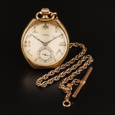 1922 Illinois Masonic Unusual Shape Pocket Watch with Chain Fob