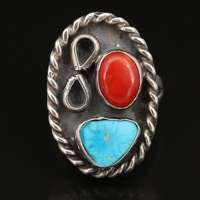Southwestern Sterling Turquoise and Coral Ring