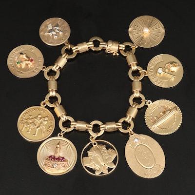 14K Charm Bracelet Including Sterling, Diamond and Gemstones