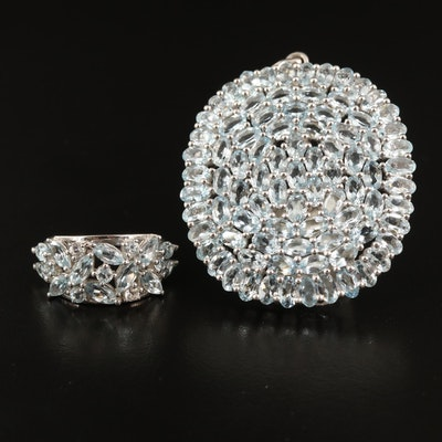Sterling Silver Aquamarine and White Topaz Cluster Pendant and Ring