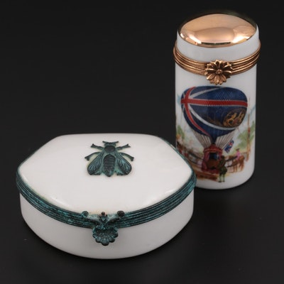 Hand-Painted Bee and Hot Air Balloon Motif Porcelain Limoges Boxes