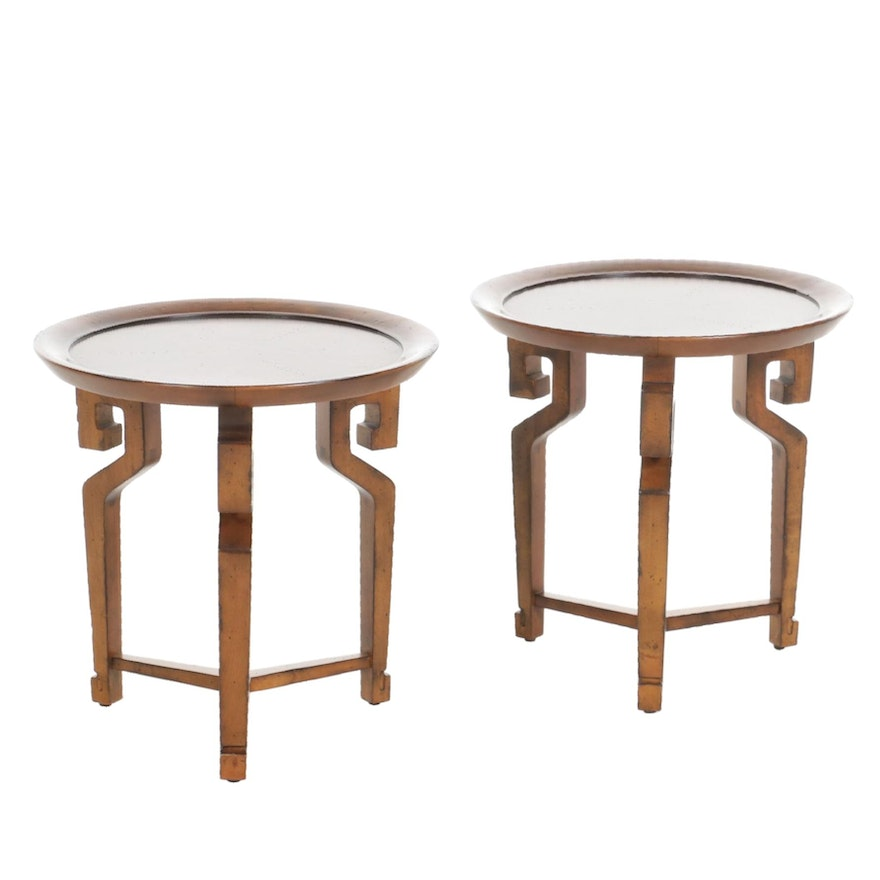 Pair of Global Views Chinese Style Round Side Tables