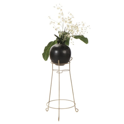Artificial Flower Arrangement in Ceramic Vase with Wire Stand