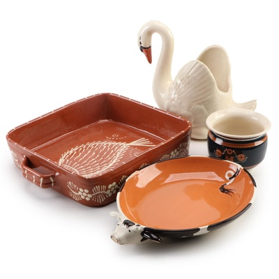 Portuguese Redware Baking Dish with Other Ceramic Serveware and Décor