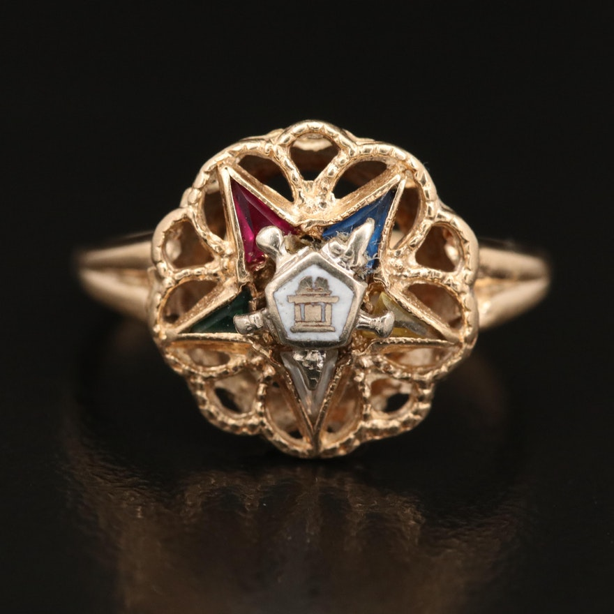 Vintage 10K Sapphire and Enamel Order of the Eastern Star Ring