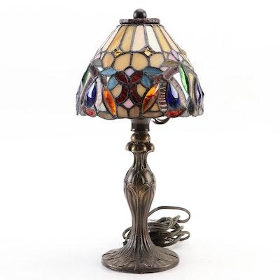 Colored Slag Glass and Acrylic Gemstone Bead Accent Boudoir Lamp