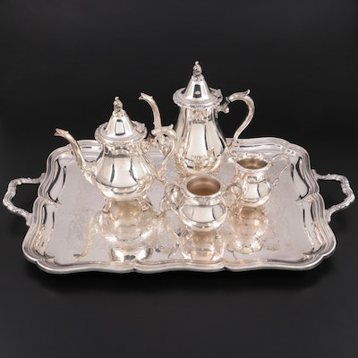 """Wallace """"La Reine"""" Silver Plate Tea Set and Gorham """"Chippendale"""" Tray"""