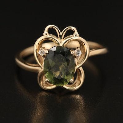 9K Moldavite and White Topaz Butterfly Ring