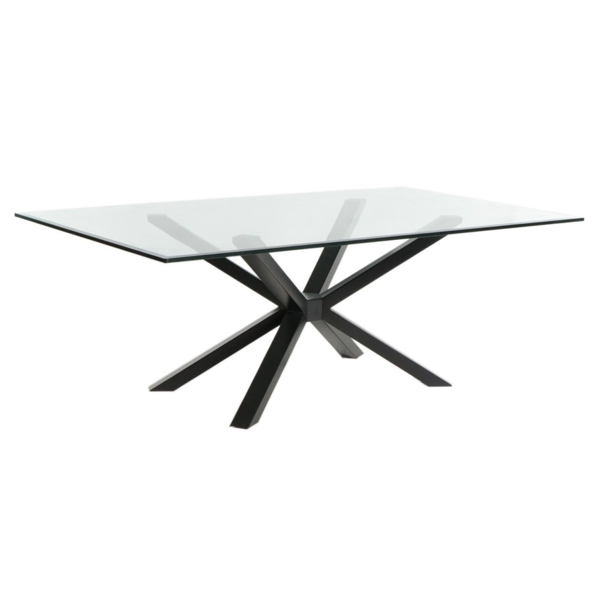 Contemporary Glass Top Dining Table on Metal Base